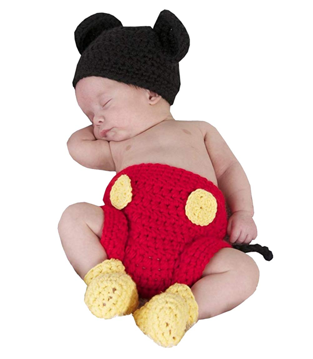 Jastore Photography Prop Baby Costume Cute Crochet Knitted Hat Cap Girl Boy Diaper Shoes Mouse by Jastore