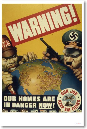 Warning - Our Homes Are in Danger Now - Vintage WW2 Reprint Poster