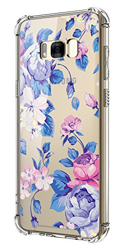 Cutebe Shockproof Hard PC+ TPU Bumper Case Scratch-Resistant Cover for Samsung Galaxy S8 Plus (2017) Blue Rose