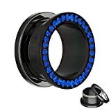 Black Crystal Flesh Tunnel- with dark blue crystals - 4 sizes: 6 - 12 mm - screw in - with crystal protection! - 316L black surgical steel ear tunnel piercing (nickel-free stainless steel), 12 mm