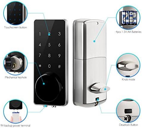 AKASO Smart Lock Touch Screen Keypad Deadbolt APP Code Entrance Smart Electronic Digital Door Lock with Key Remote Keypad for Home Hotels Apartment 51dkzsin 4L