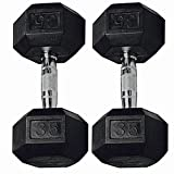GYMENIST Set of 2 Hex Rubber Dumbbell with Metal Handles, Pair of 2 Heavy Dumbbell Choose Weight (45 LB) Review