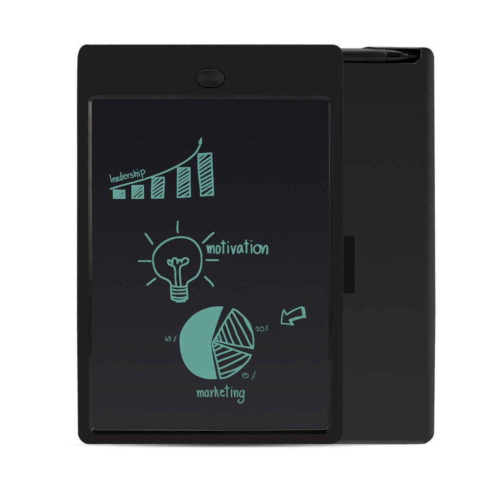 LCD Writing Tablet (black) 10 inches components - can be used as office memo, kitchen memo, refrigerator memo, learning board, drawing board, family/child gift.