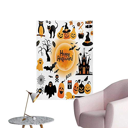 Anzhutwelve Halloween Wallpaper All Hallows Day Objects Haunted House Owl and Trick or Treat Candy Black CatOrange Black W32 xL48 The Office Poster]()