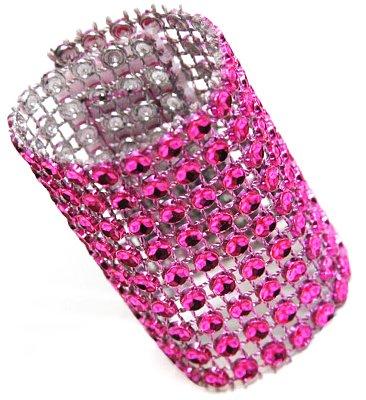 "50 Pk, Rhinestone Velcro Sash Clip / Napkin Ring Approx. 1.75""W x 4.50""L; Material: Plastic Decoration Mesh with diamond studded w/Velcro sewn in the back - Fuchsia"