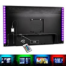 Bias Lighting for HDTV USB Powered TV Led Lights, Home Theater Accent Lighting Kit With Remote Control, Luditek 2 SMD5050 RGB Multi Color Light Strip (Reduce eye fatigue and increase image clarity)