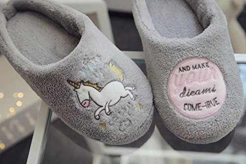 Chaussons CAOLATOR Anti Hiver Adulte 42L Maison Chaud Femme Dérapant Gris Chaussures Cadeau 41 41 42L Femmes Confortable Doublure Coton Épaisse Peluche wBzB45qr