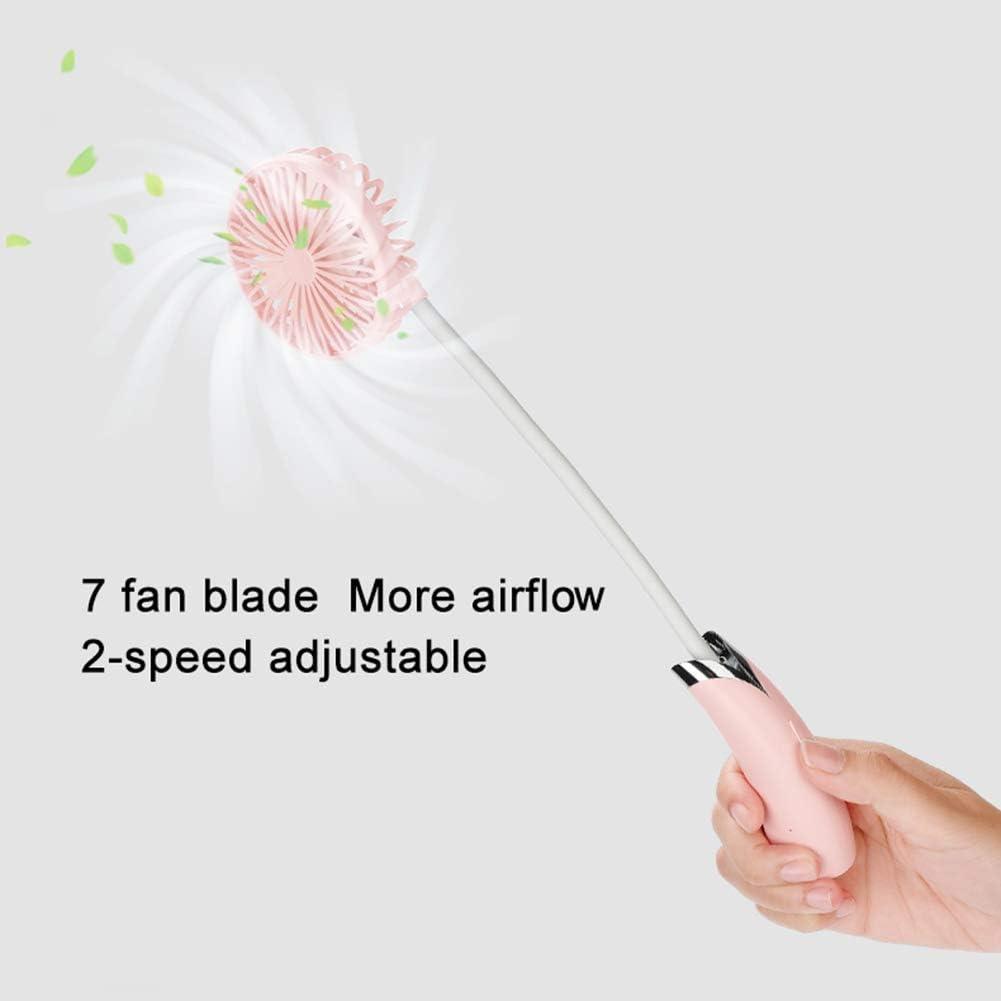 HRRH Wearable Personal condizionatore d\'Aria, USB Portatile Collo Staccabile Fan Fan palmare 360 �Multifunzione Regolazione Universale scrivania Ventilatore,Rosa White