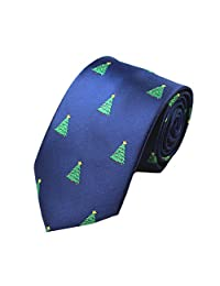 Z-P Mens Christmas Tree Luxury Elegant Necktie Jacquard Skinny Microfiber Tie