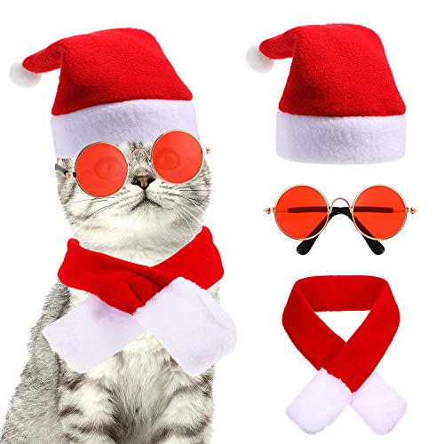 Frienda 3 Pieces Pet Christmas Costume Accessory Pet Santa Hat Christmas Scarf Dog Cat Sunglasses for Christmas Party…