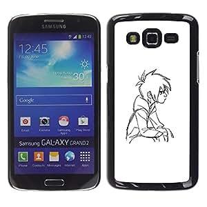 Ihec Tech Boy pensativo Art Dibujo Retrato Sentado / Funda Case back Cover guard / for Samsung Galaxy Grand 2