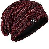 FORBUSITE Slouch Beanie sombreros para hombres Invierno Verano de gran tamaño Baggy Skull Cap (Claret /Negro)
