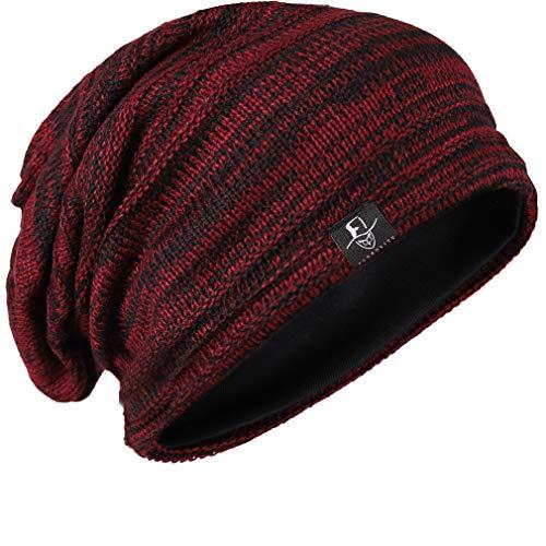 (FORBUSITE Men Beanie Slouchy Hat for Summer Winter Baggy Oversize B5001 Claret w/Black)