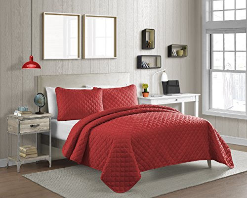 Cozy Bed Vibrant Color Solid Pinsonic Diamond Quilt Set, Twin/2Piece, Red, 2 Piece