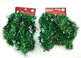Holiday Crafts (TM) Set of 2 Decorative Christmas Garland 15 Ft.- Total of 30 Feet! Great for Trees, Stairways, Walls, Ceilings, Windows and More! (15 Feet, Green with Ho Ho)