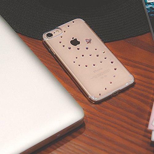 Bling-My-Thing iP7-pp-cl-pkm Papillon Serie Luxuriöses und einzigartiges Design veredelt mit original Swarovski Kristallen, modisches Case für Apple iPhone 7 rose sparkles