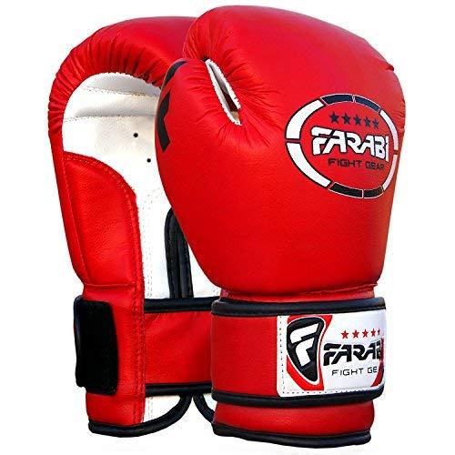 Farabi Sports Kids Boxing Gloves 4-oz Kickboxing Muaythai Punching Bag Training Gloves Age 4-8 Year (Red, 4-oz (Age 4-8))