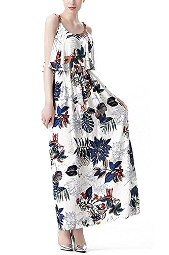 Nice:Pretty Womens Falbala Floral Print Casual Swing Sleeveless Shift Maxi Dress Dark Blue FloralX-Large ()
