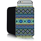 'Aztec Blue' Fashion case for Apple IPHONE 6 & 6S (4.7inch) Slip Pouch (L) Cover