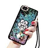 Emoji Iphone 6 Case iPhone 6s Cute Case, iPhone 6 Liquid Case, Soft Silicone Black Rubber Liquid Quicksand Flowing Floating Bling Glitter Sexy Makeup Case for Girls with Ring Stand Holder (Blue)