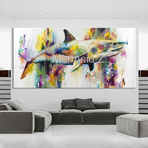 Hand-Painted Graphics Modern Wall Art On Canvas Animal Oil Painting Whales Art Canvas Watercolor sea Animal Home Decor Colorful White Shark Pictures Room Decor 24x48inch