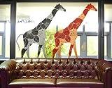 Window Sticker two deco style giraffes set window film window tattoo glass sticker window art window décor window decoration window picture Dimensions: 56.7 x 72.8 inches