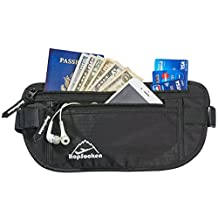 Hopsooken Travel Money Belt: Waist Pack for Running and Cycling, Rfid, Comfortable, Durable and Lightweight Hidden Travel Passport Wallets(Black)