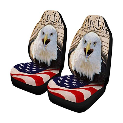 (INTERESTPRINT Bald Eagle and American Flag Car Seat Cover Front Seats Only Full Set of 2, Universal fit for Vehicles, Sedan and)