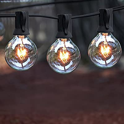 Outdoor String Lights, 25 ft String Light, Warm White, 25 clear glass bulbs - G40, UL Listed Power Supply-Hanging Lights for Patio, Gazebo, Deck, Pergola, Café, Bistro and more