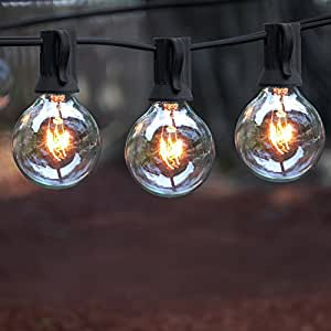 Glass String Lights Outdoor : Amazon.com : Outdoor String Lights, 25 ft String Light, Warm White, 25 clear glass bulbs - G40 ...