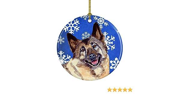 Multicolor 3 in Carolines Treasures LH9308-CO1 Norwegian Elkhound Winter Snowflake Holiday Ceramic Ornament LH9308