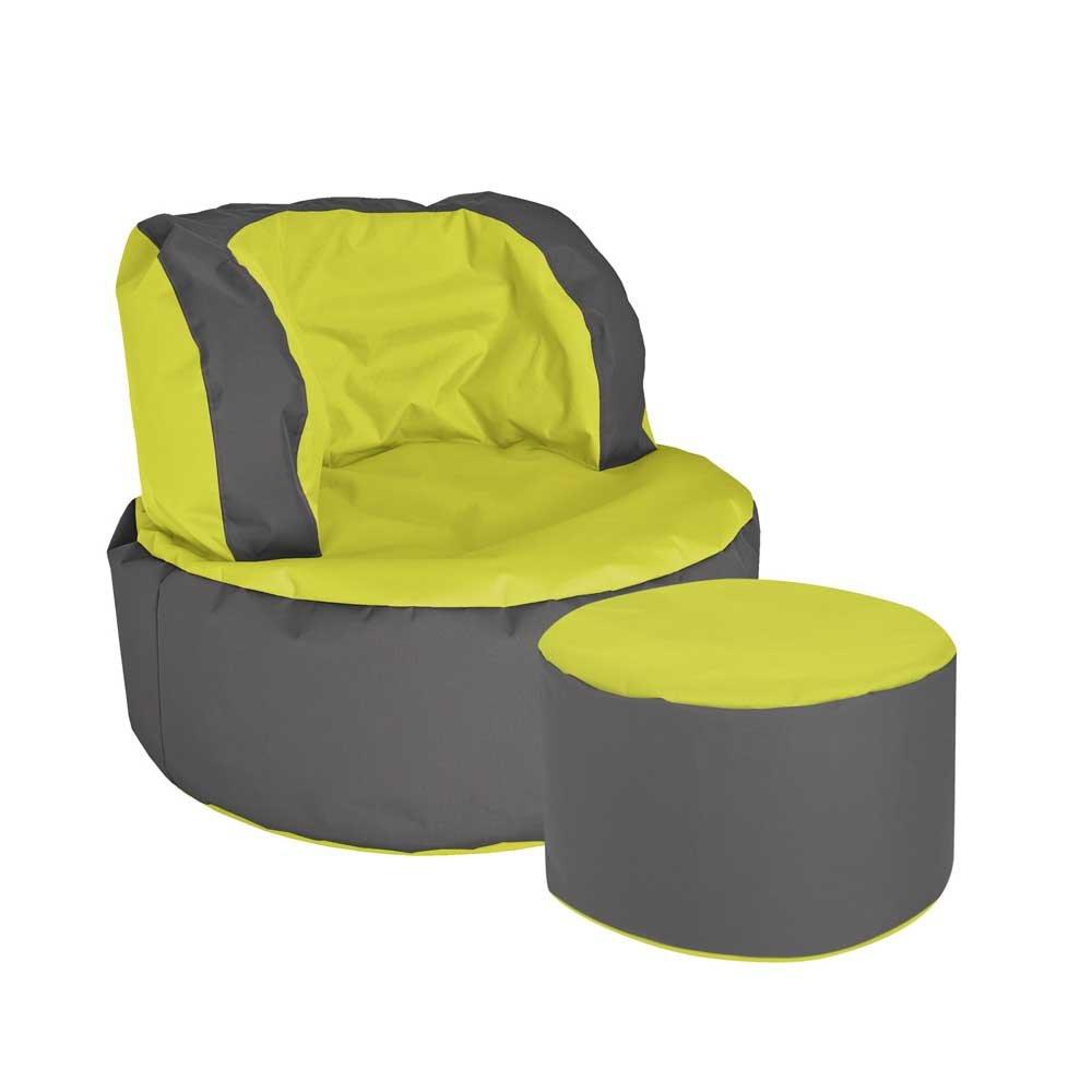 Pharao24 Sessel als Sitzsack Grün Grau Tiefe 135 cm mit Fußhocker Ja