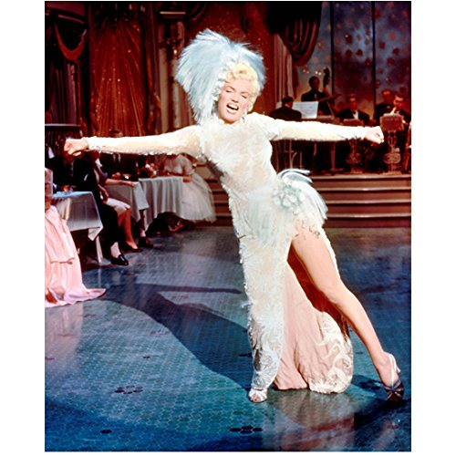 Marilyn Monroe 8 inch x 10 inch PHOTOGRAPH Some Like It Hot The Seven Year Itch Gentlemen Prefer Blondes Singing & Dancing on Blue Tile Floor Feathered Costume kn