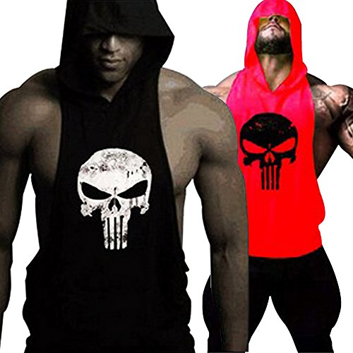 GZXISI Mens Skull Print Stringer Bodybuilding Gym Tank Tops Workout Fitness Vest (XX-Large, 2 Pack:Black Hoodie,Red Hoodie)