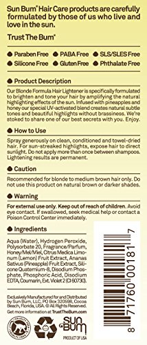 Sun Bum Blonde Formula Hair Lightener 4oz Spray Bottle Hair Highlighting Spray