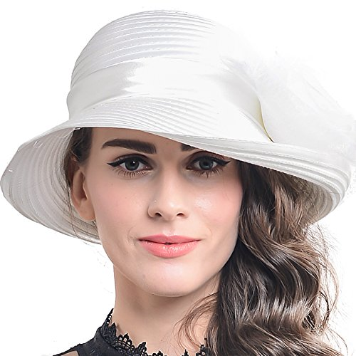 FORBUSITE Church Hats for Women Tea Party Dress Hat for Ladies Ivory