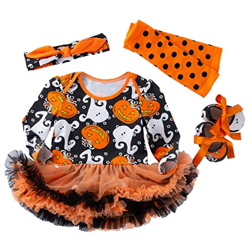 Jack O'Lantern Baby Girl Outfit,Crytech Toddler Newborn Short Sleeve Pumpkin Skull Print Romper Jumpsuit Tutu Tulle Skirt Dress with Bow Headband for Halloween Costume Clothes (3-6 Months, 4 Pcs)