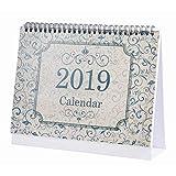 Desk Calendar 2018-2019: Monthly Desk Calendar, Runs from January 2019 Through December 2019, 9.25x7.85 inches - European Style Retro Decorative Pattern