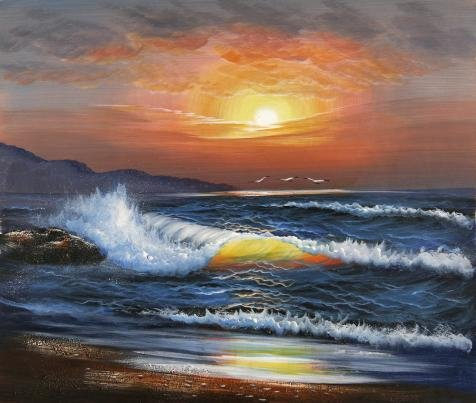 Oil Painting 'Charming Sunset Seascape', 12 x 14 inch / 30 x 36 cm , on High Definition HD canvas prints is for Gifts And Basement, Kids Room And Powder - Visor Sunset Clear