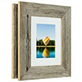 Craig Frames 8 x 10-Inch Reclaimed Barnwood Picture Frame with Single White Mat for Displaying a 5 x 7-Inch Photo, Weathered Light Natural, Set of 2 For Sale