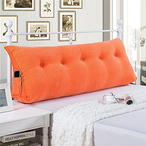 Vercart Sofa Bed Large Filled Triangular Wedge Cushion Bed Backrest Positioning Support Pillow Reading Pillow for Daybed Office Lumbar Pad with Removable Cover Orange Twin (Sunbrella Outdoor Pillows Sale)