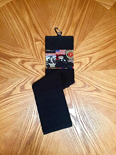 Licensed Military Trifold U. S. Marines Golf Towel. FREE SHIPPING on any order. Black or Navy Blue towel with carabiner included. 100% Cotton. 16 X 28 inches long.