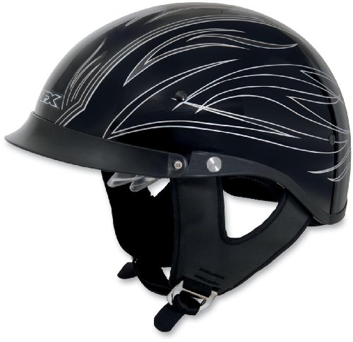 [AFX FX-200 Dual Inner Lens Half-Style Beanie Helmet, Silver Pinstripe 0103-0754, Size: Lg] (Helmet Style Pin)