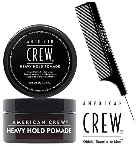 American Crew HEAVY HOLD POMADE, Heavy Hold with High Shine (with Sleek Steel Pin Tail Comb (3 oz / 85 g)