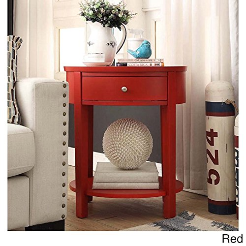 Inspire Q Fillmore 1-Drawer Oval Wood Slf Accent End Table by Bold Red Painted