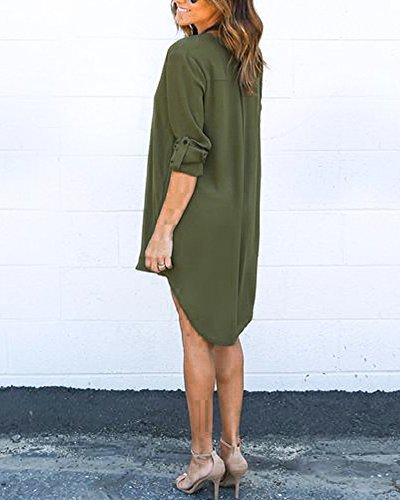 Mujeres Gasa De La Camisa Blusa De Mangas Largas De Las Tapas De Boton De Cuello En V Ejercito verde