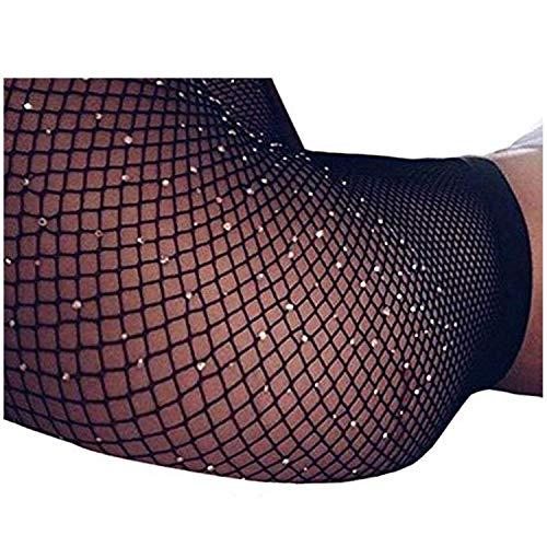 Women's 2PK Sparkle Rhinestone Black Fishnet Stockings,Seamless Mesh Hollow Out Tights Sexy -