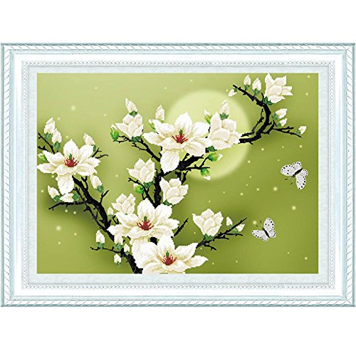 GigaMax(TM)Counted Cross Stitch Set DIY Handmade Needlework Embroidery Kit 3D Precise Printed Magnolia Flower Butterfly Design