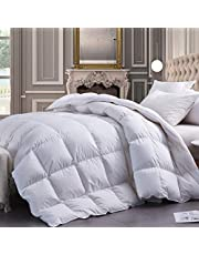 White Goose Down Comforter King Size Duvet Insert,Goose Down Duvet King Extra Warm,60 Oz Fill Weight,100% Cotton Shell with Corner Tabs,White Color