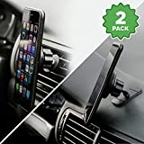 2-for-1 Magnetic Phone Holder for Car (2-Pack), Mount Phone or GPS to Dashboard or Air Vent, Extra-Strong Magnets, Fits Iphone X 8 7 6 5 Samsung Galaxy S8 S7 S6, LG V30 HTC One, Nokia Phones & More